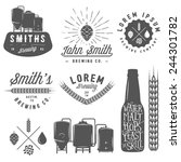 vintage craft beer brewery... | Shutterstock . vector #244301782