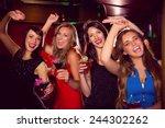 pretty friends drinking... | Shutterstock . vector #244302262
