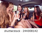 happy friends drinking... | Shutterstock . vector #244308142