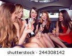 happy friends drinking... | Shutterstock . vector #244308142