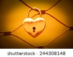 Heart Shaped Love Padlock In...