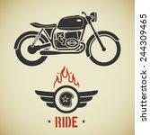 vintage flat looking motorcycle ... | Shutterstock . vector #244309465