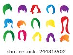 set of colorful wigs on white... | Shutterstock .eps vector #244316902