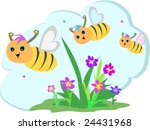 bee trio flying in a flower... | Shutterstock .eps vector #24431968