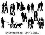 ten couple  silhouettes  vector ... | Shutterstock .eps vector #24432067