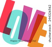 valentines card with love. | Shutterstock .eps vector #244326562