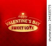 valentine's day golden badge...   Shutterstock .eps vector #244335775