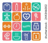 set of simple icons for health... | Shutterstock .eps vector #244346002