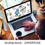 Small photo of Start Up Business Launch Success Device Browsing Concept