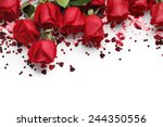 Stock photo red roses and heart shape ornaments on white background 244350556
