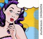 Pop Art illustration of woman with the speech bubble.Pop Art girl. Party invitation. Birthday greeting card. Pop Art girl.Hollywood movie star.Vintage girl. Comic girl,speech bubble, club girl, kitsch