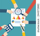 people examining economic... | Shutterstock .eps vector #244372882