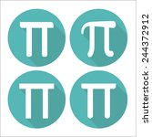 mathematic pi icon flat set | Shutterstock .eps vector #244372912