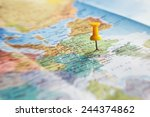 travel destination  pin on the... | Shutterstock . vector #244374862