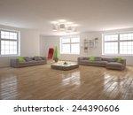 white modern interior  3d... | Shutterstock . vector #244390606