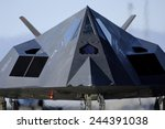 F-117 Nighthawk taxis on the runway before its flight at Holloman Air Force Base New Mexico. Oct. 27 2007.