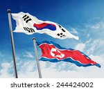 South And North Korea Flags...