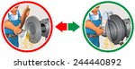 sharpening the axe | Shutterstock .eps vector #244440892