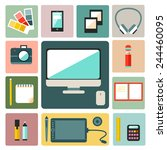 big set of graphic designer... | Shutterstock .eps vector #244460095
