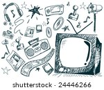 Entertainment Doodles - Vector - stock vector