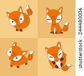fox emotion cute | Shutterstock .eps vector #244480006
