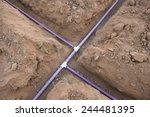 sprinkler system pipe in dirt... | Shutterstock . vector #244481395