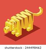 Yellow Tiger. 3d Pixelate...