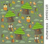 forest trees house owl pattern | Shutterstock .eps vector #244501135