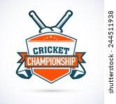 cricket championship sticker ... | Shutterstock .eps vector #244511938