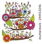 owls with flower doodle vector | Shutterstock .eps vector #244513246