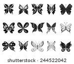 butterflies  black silhouettes | Shutterstock .eps vector #244522042