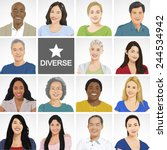 diverse people on white... | Shutterstock .eps vector #244534942