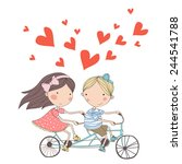 boy and girl riding tandem... | Shutterstock .eps vector #244541788