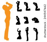 vector silhouette of a woman on ... | Shutterstock .eps vector #244547662