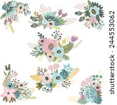 vintage vector set of floral... | Shutterstock .eps vector #244553062