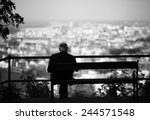 senior is sitting alone on the... | Shutterstock . vector #244571548