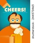 comic guy with glass of beer.... | Shutterstock .eps vector #244573465