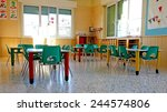 kindergarten with green chairs... | Shutterstock . vector #244574806
