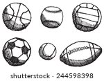 ball sketch set with shadow... | Shutterstock . vector #244598398