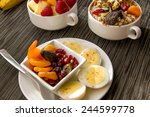 fresh fruit and oatmeal with... | Shutterstock . vector #244599778