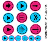 pink and blue arrow icon set