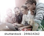 group of students connected on... | Shutterstock . vector #244614262