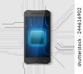 touchscreen smartphone with... | Shutterstock .eps vector #244616902