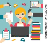 woman secretary hard working.... | Shutterstock .eps vector #244637998