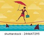 businesswoman walks tightrope... | Shutterstock .eps vector #244647295