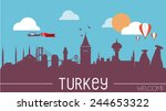 turkey skyline silhouette flat... | Shutterstock .eps vector #244653322