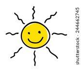 doodle illustration of a sun | Shutterstock .eps vector #244662745