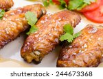 grilled chicken wings and... | Shutterstock . vector #244673368