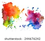 Abstract hand drawn watercolor background,vector illustration.  Watercolor composition for scrapbook elements.  Watercolor shapes on white background.  | Shutterstock vector #244676242