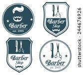 Set Of Vintage Barber Shop Log...